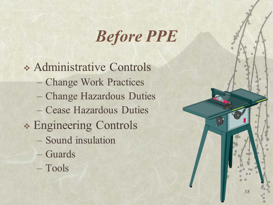 Before PPE Administrative Controls Engineering Controls