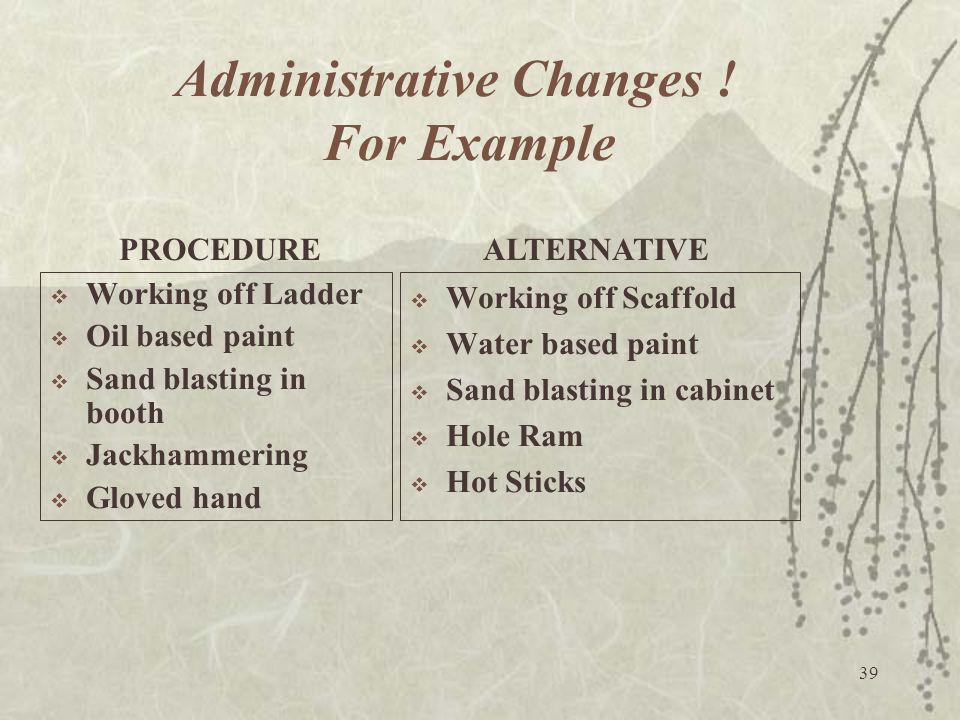 Administrative Changes ! For Example