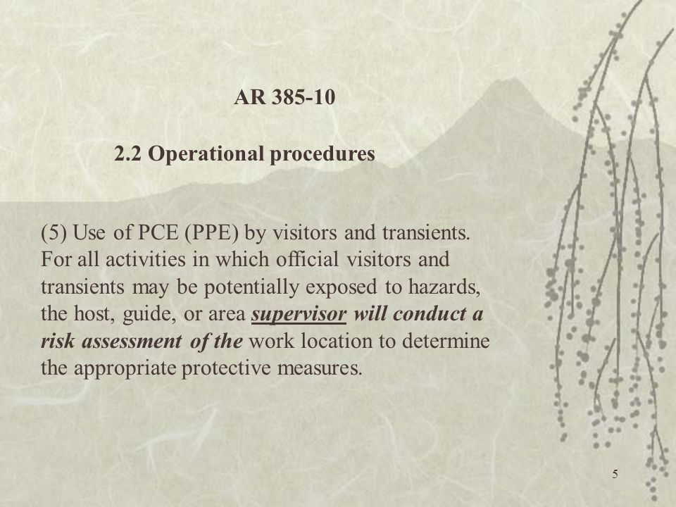 AR 385-10 2.2 Operational procedures.