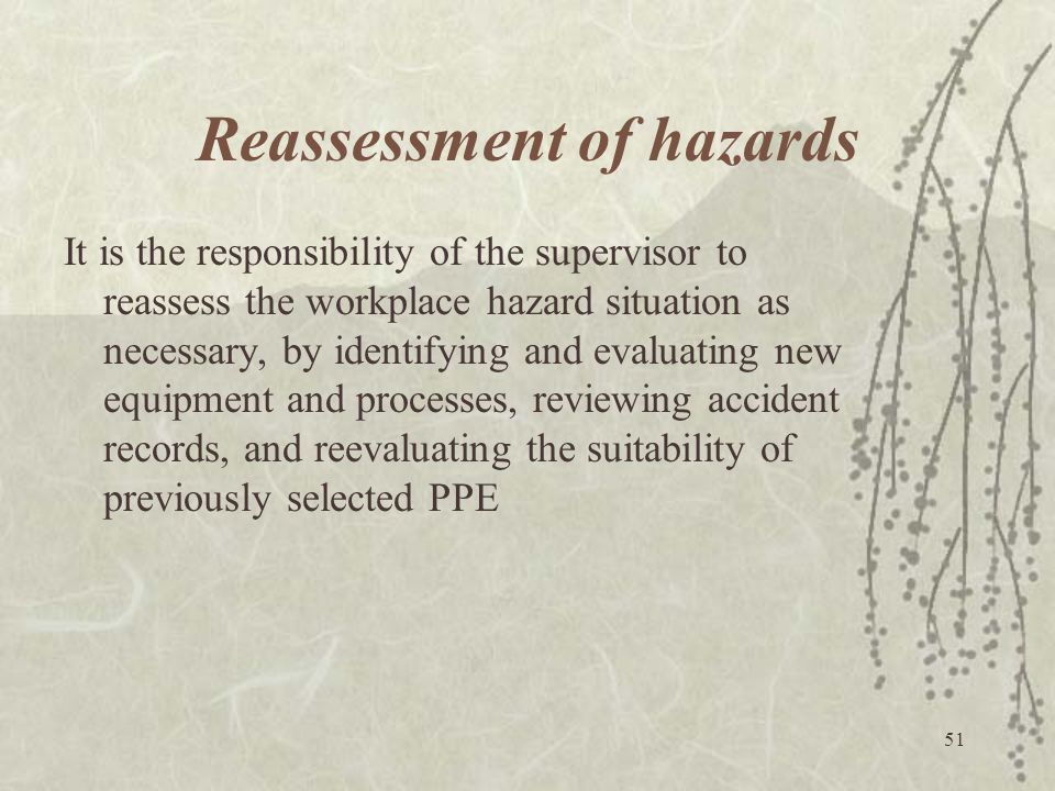 Reassessment of hazards