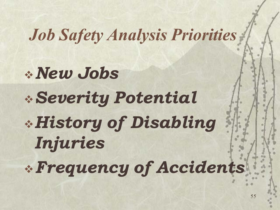 Job Safety Analysis Priorities