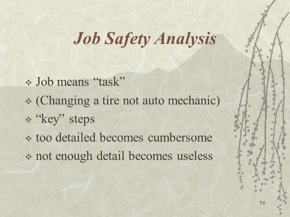 Job Safety Analysis Job means task