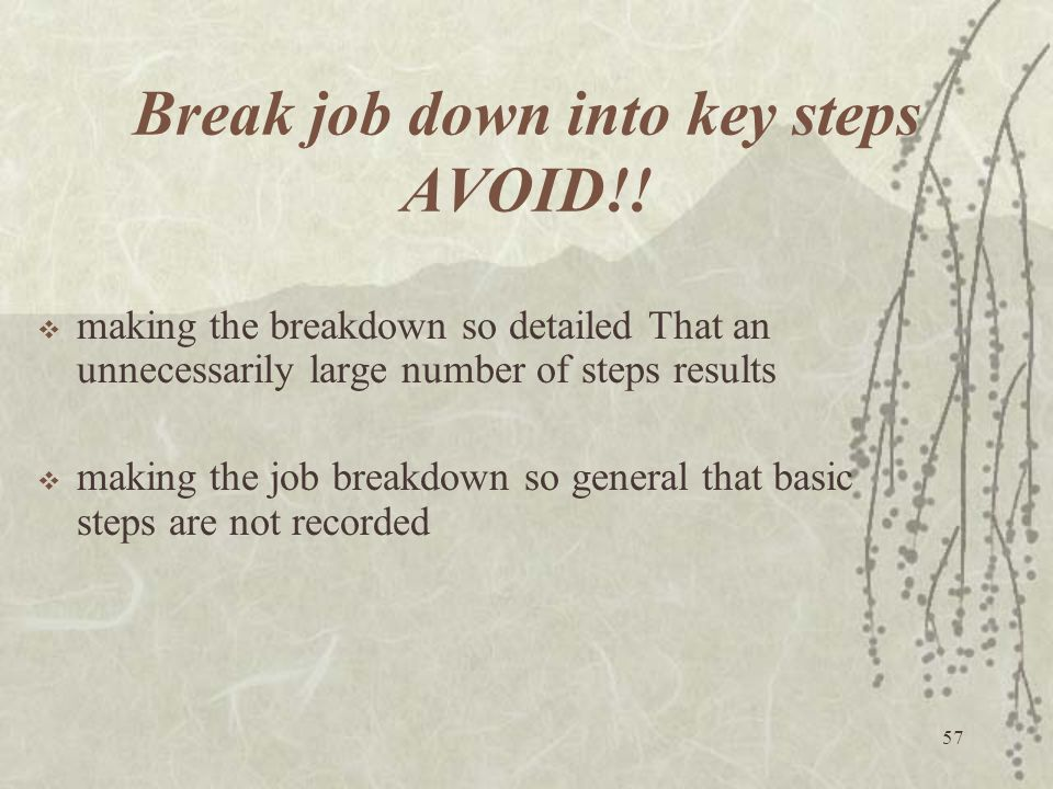 Break job down into key steps AVOID!!