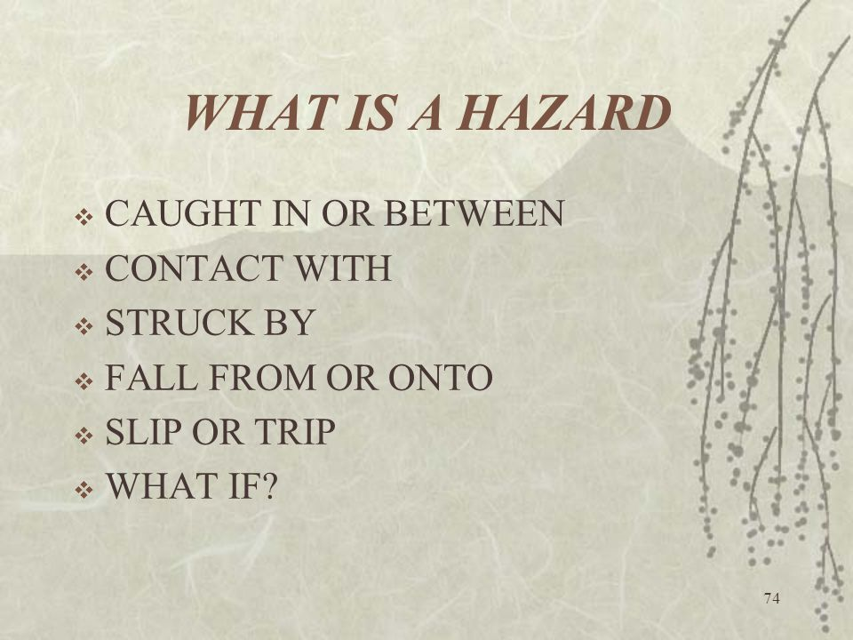 WHAT IS A HAZARD CAUGHT IN OR BETWEEN CONTACT WITH STRUCK BY