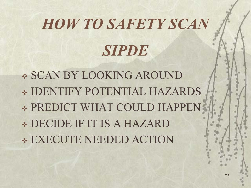 HOW TO SAFETY SCAN SIPDE