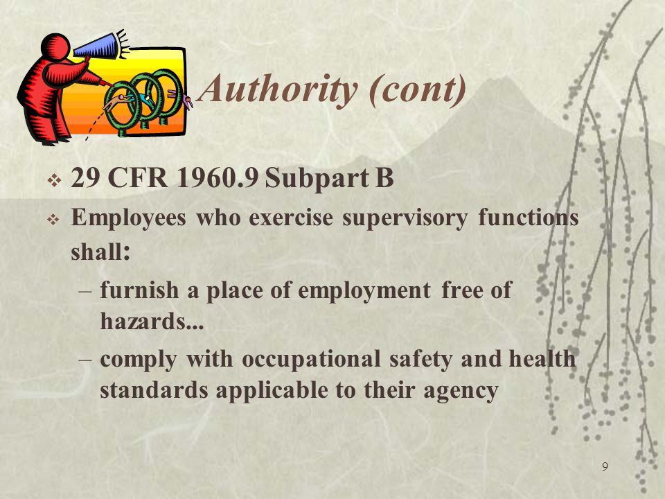 Authority (cont) 29 CFR 1960.9 Subpart B