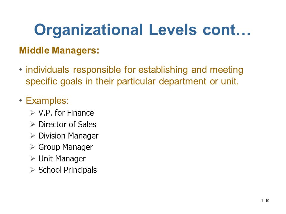 Organizational Levels cont…