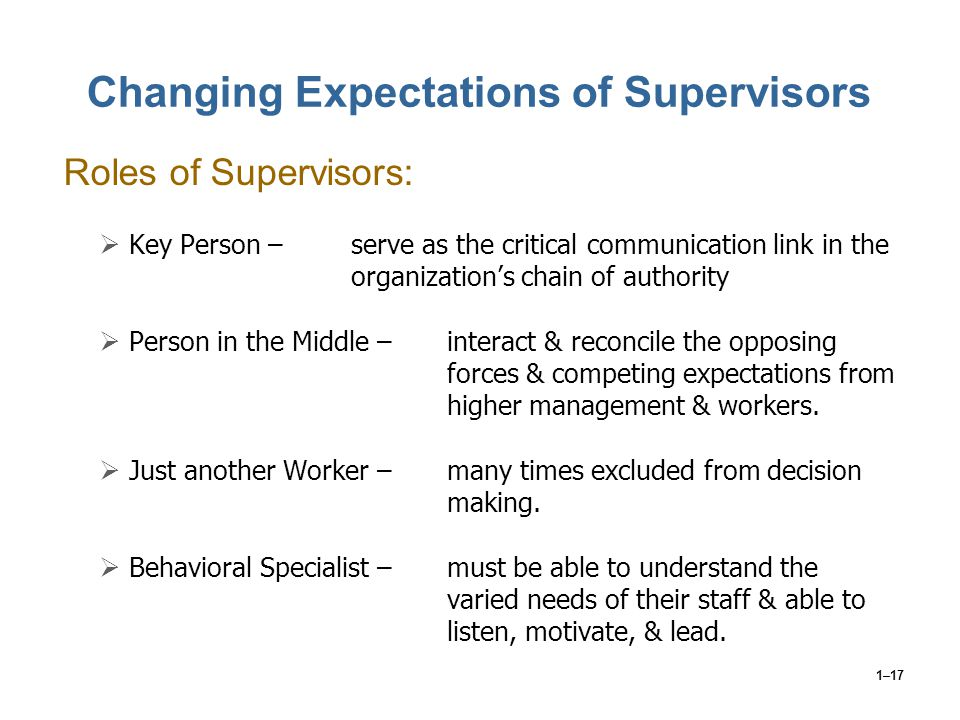 Changing Expectations of Supervisors