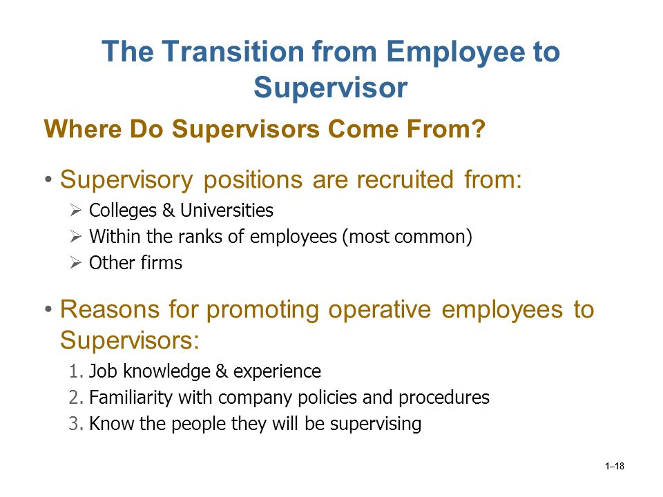 The Transition from Employee to Supervisor