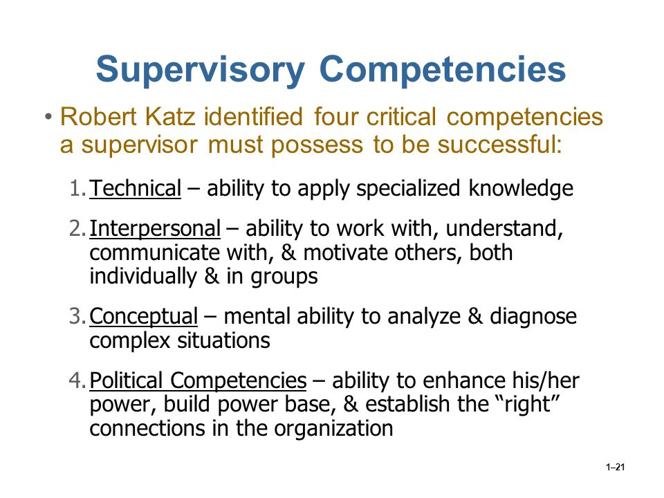 Supervisory Competencies