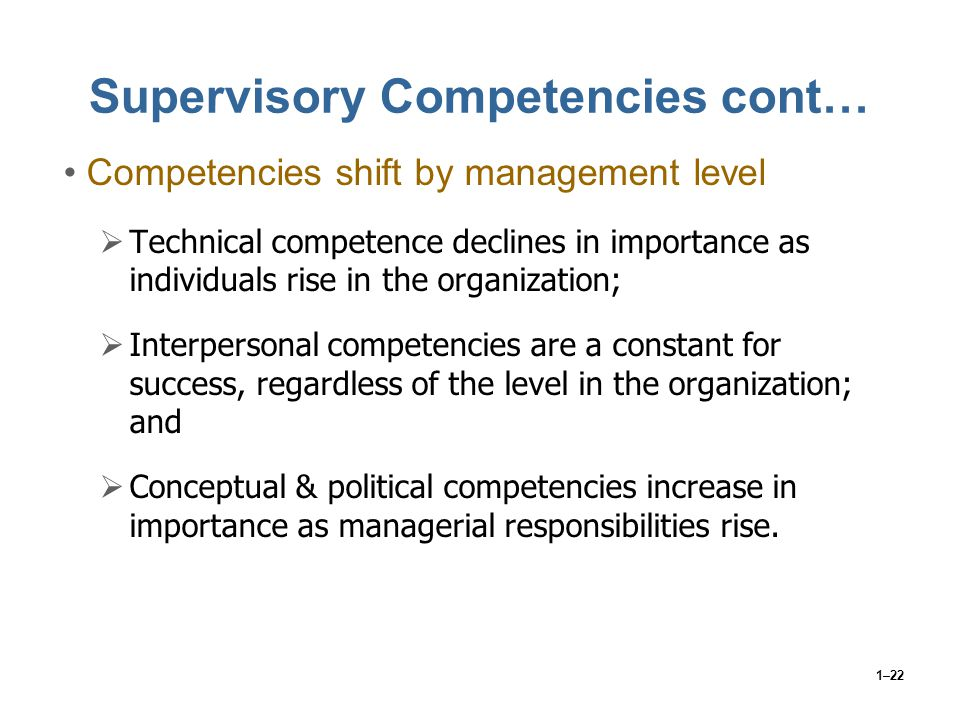 Supervisory Competencies cont…
