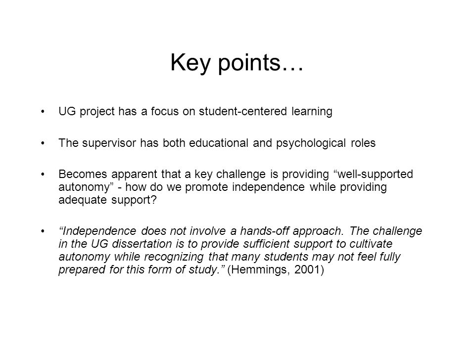 Key points… UG project has a focus on student-centered learning
