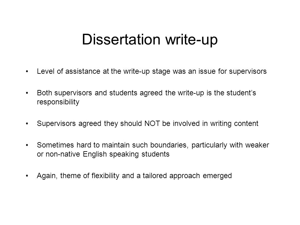 Dissertation write-up