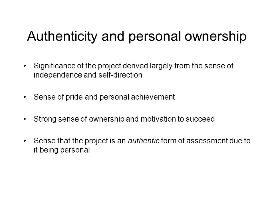 Authenticity and personal ownership