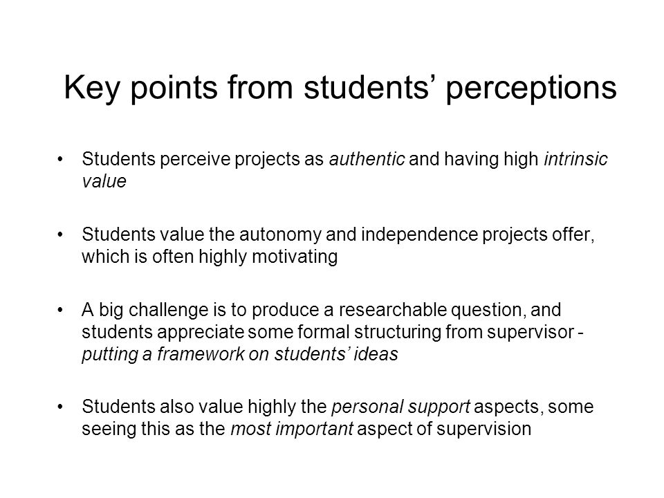 Key points from students' perceptions