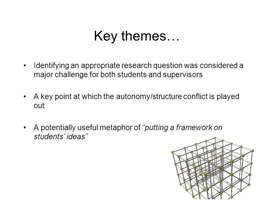 Key themes… Identifying an appropriate research question was considered a major challenge for both students and supervisors.