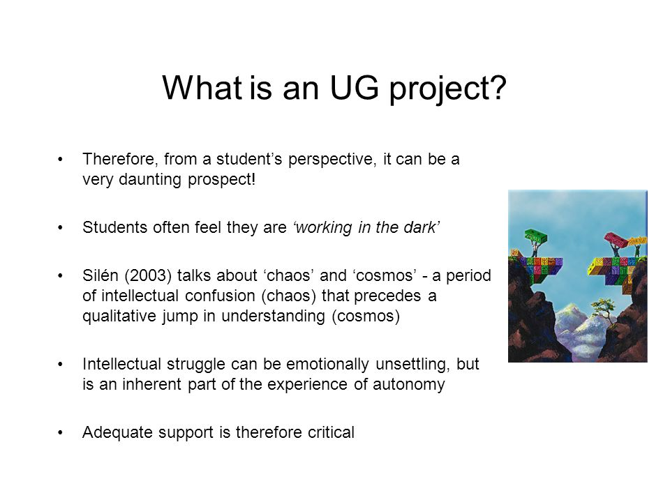 What is an UG project Therefore, from a student's perspective, it can be a very daunting prospect!