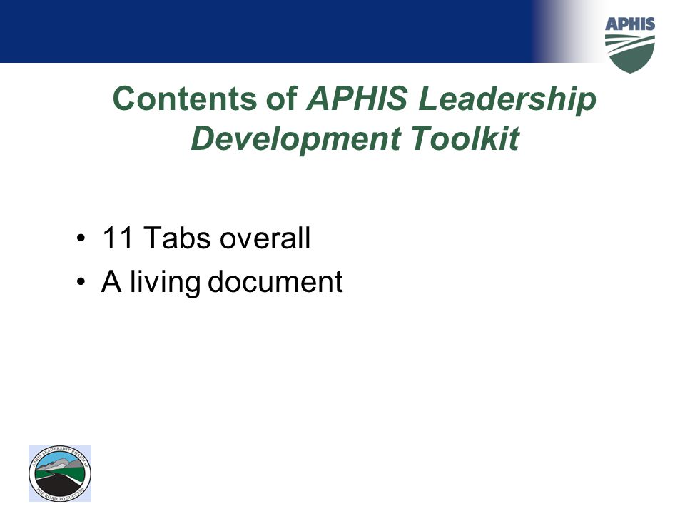 Contents of APHIS Leadership Development Toolkit