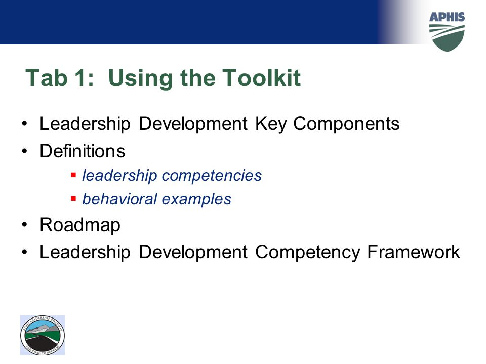 Tab 1: Using the Toolkit Leadership Development Key Components