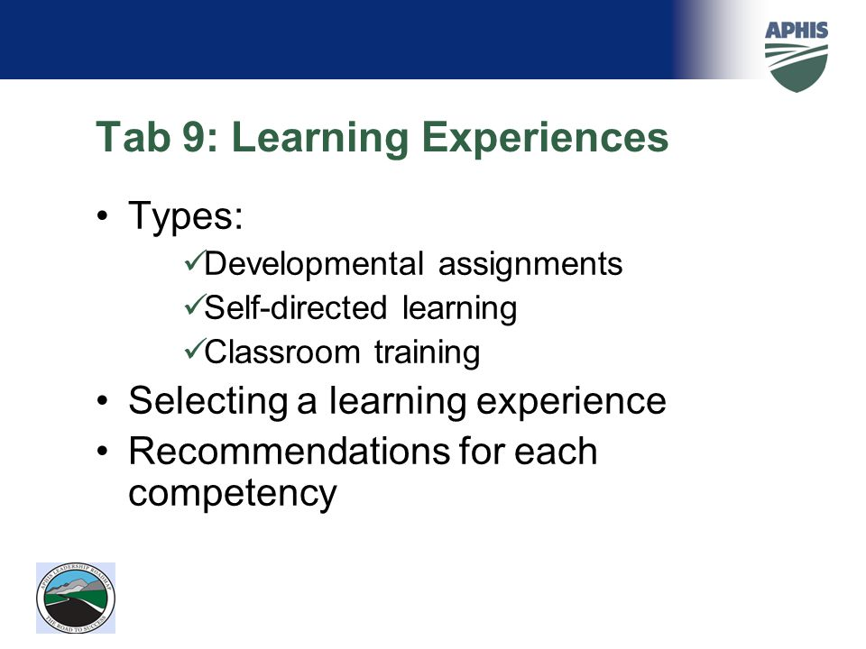 Tab 9: Learning Experiences