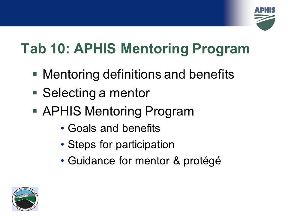 Tab 10: APHIS Mentoring Program