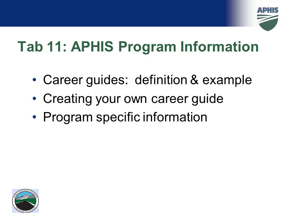 Tab 11: APHIS Program Information