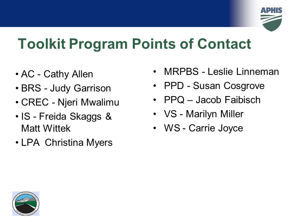 Toolkit Program Points of Contact