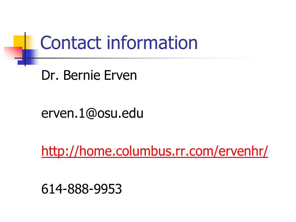 Contact information Dr. Bernie Erven. erven.1@osu.edu.
