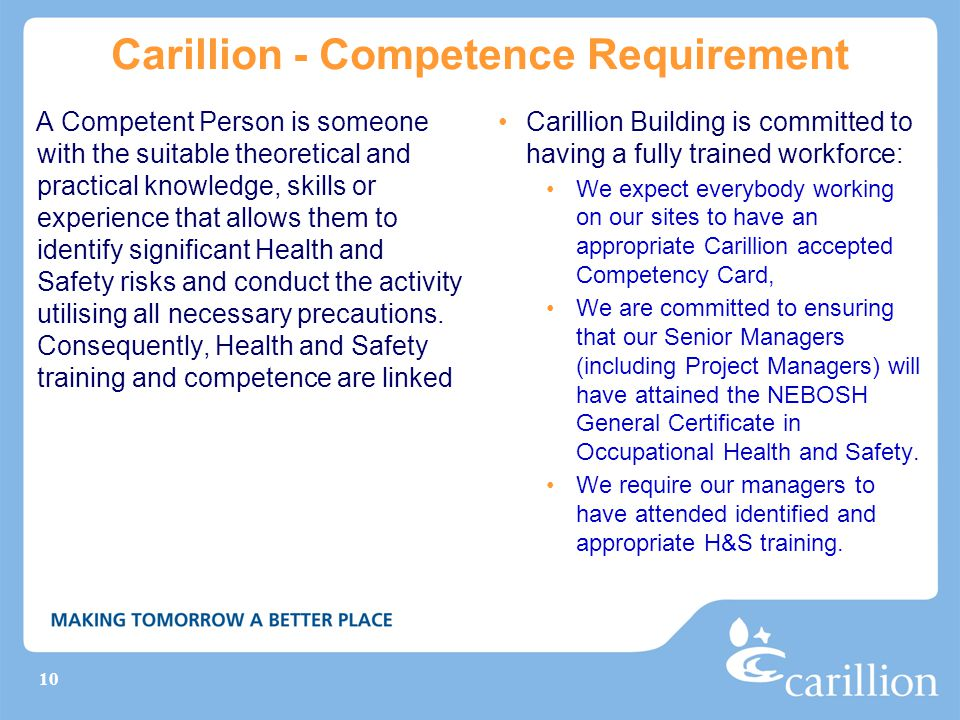 Carillion - Competence Requirement