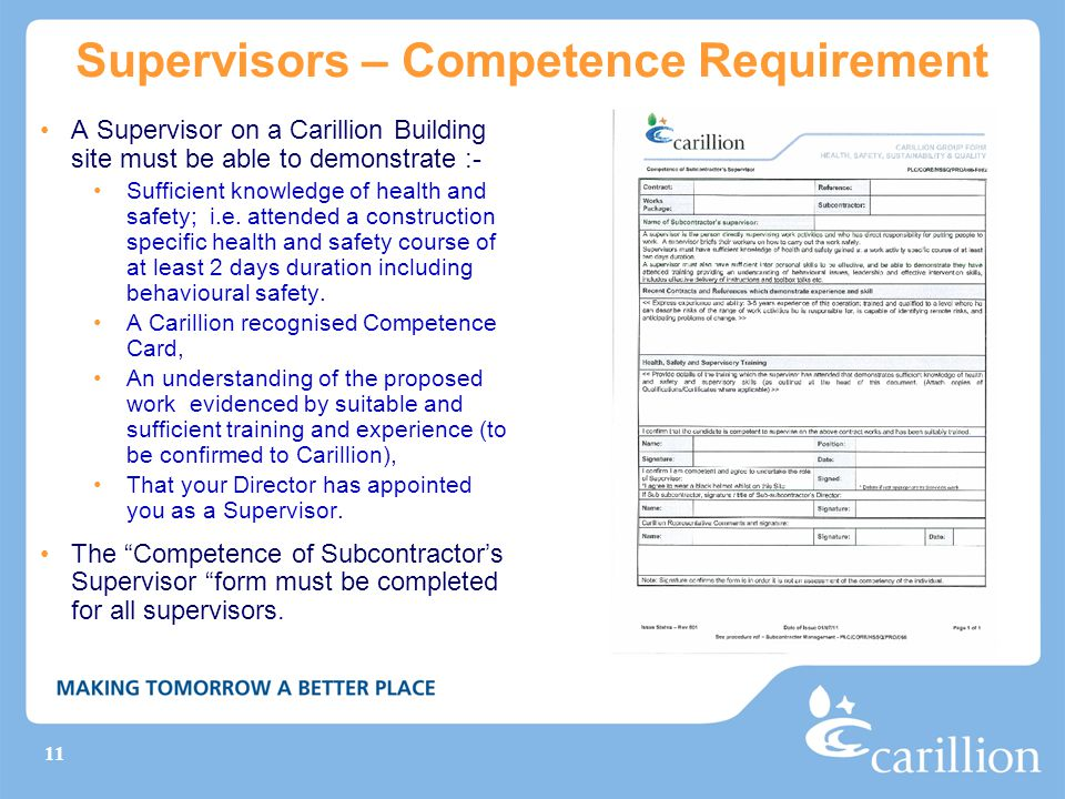 Supervisors – Competence Requirement