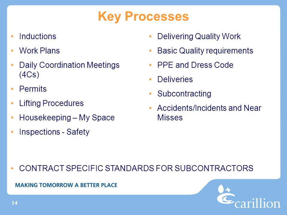 Key Processes Inductions Work Plans Daily Coordination Meetings (4Cs)