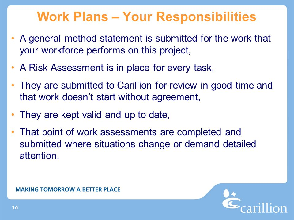 Work Plans – Your Responsibilities