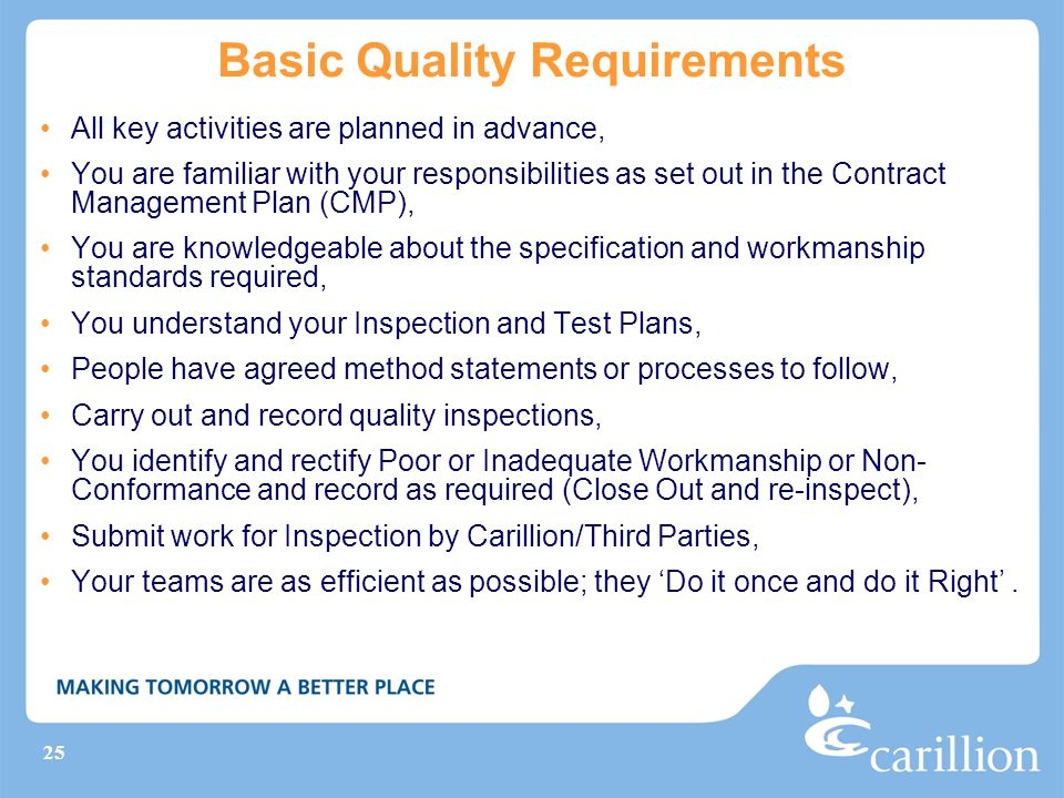 Basic Quality Requirements