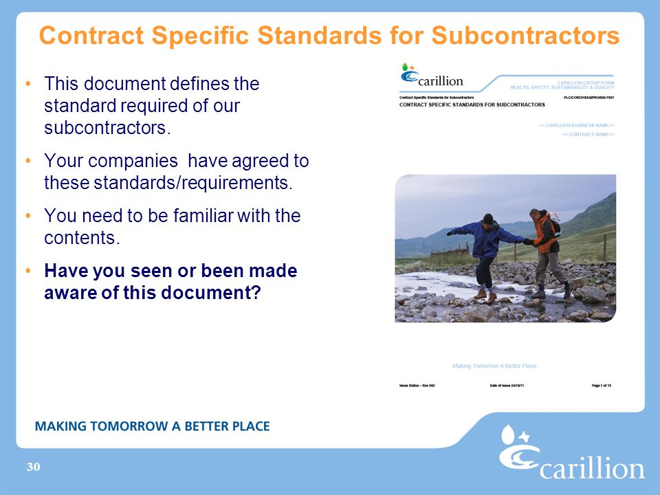 Contract Specific Standards for Subcontractors