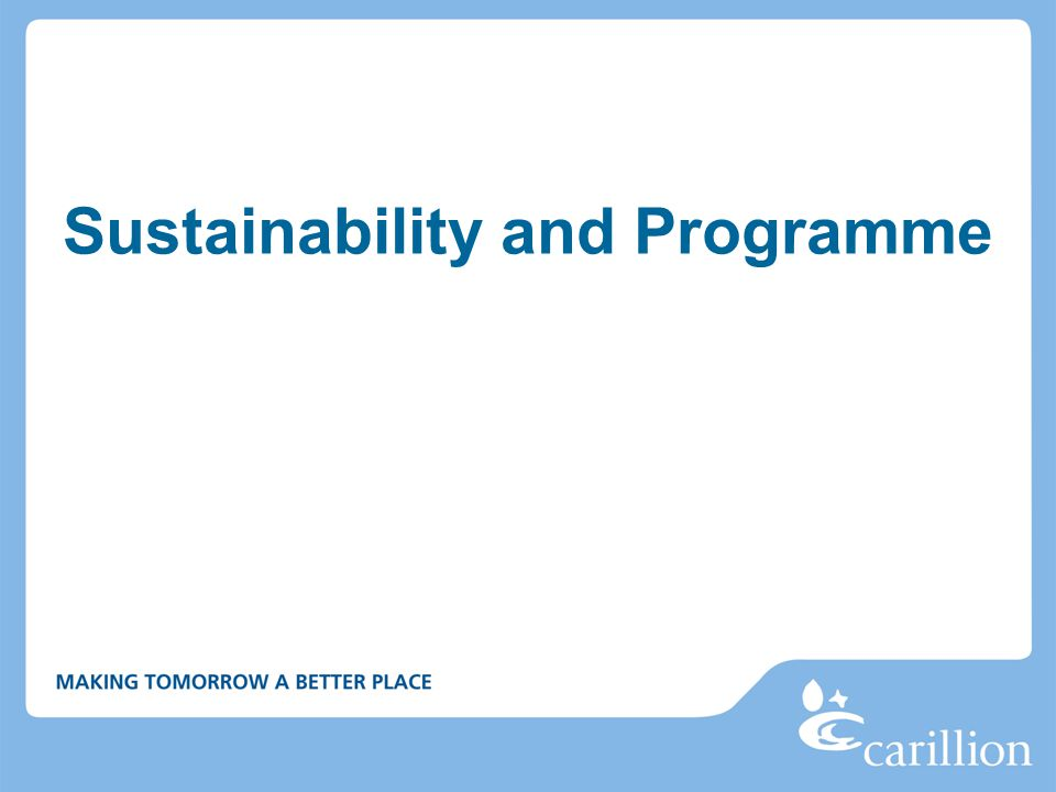 Sustainability and Programme
