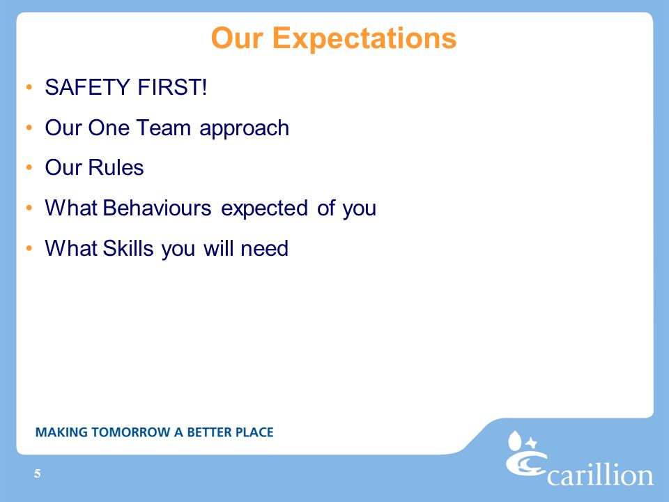Our Expectations SAFETY FIRST! Our One Team approach Our Rules