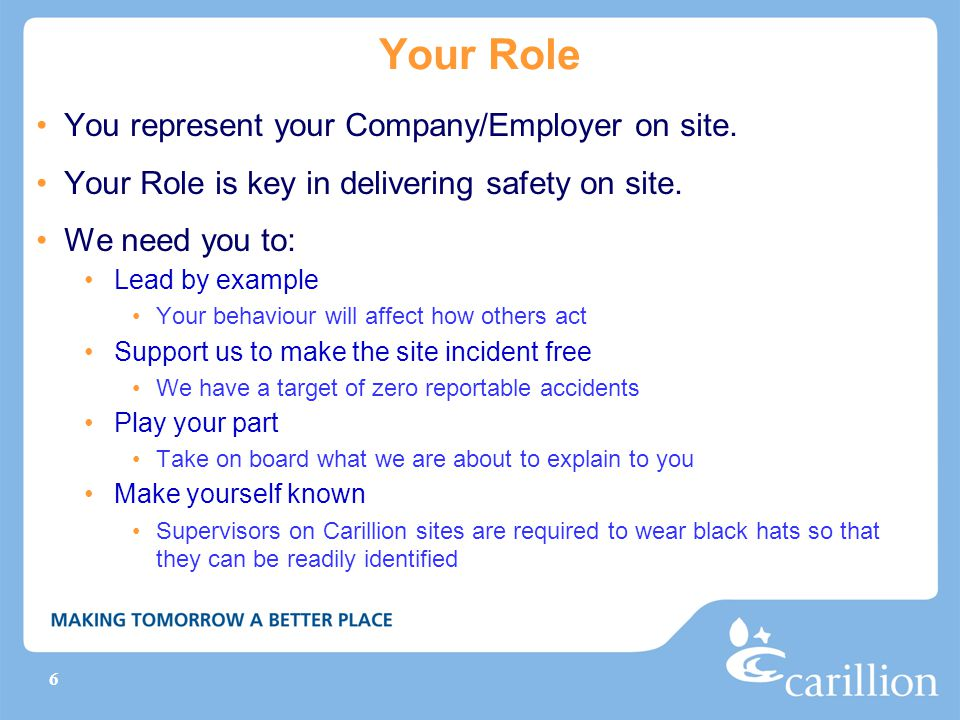 Your Role You represent your Company/Employer on site.