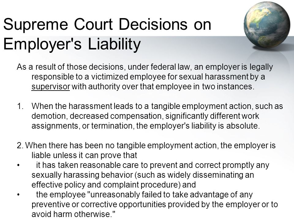Supreme Court Decisions on Employer s Liability