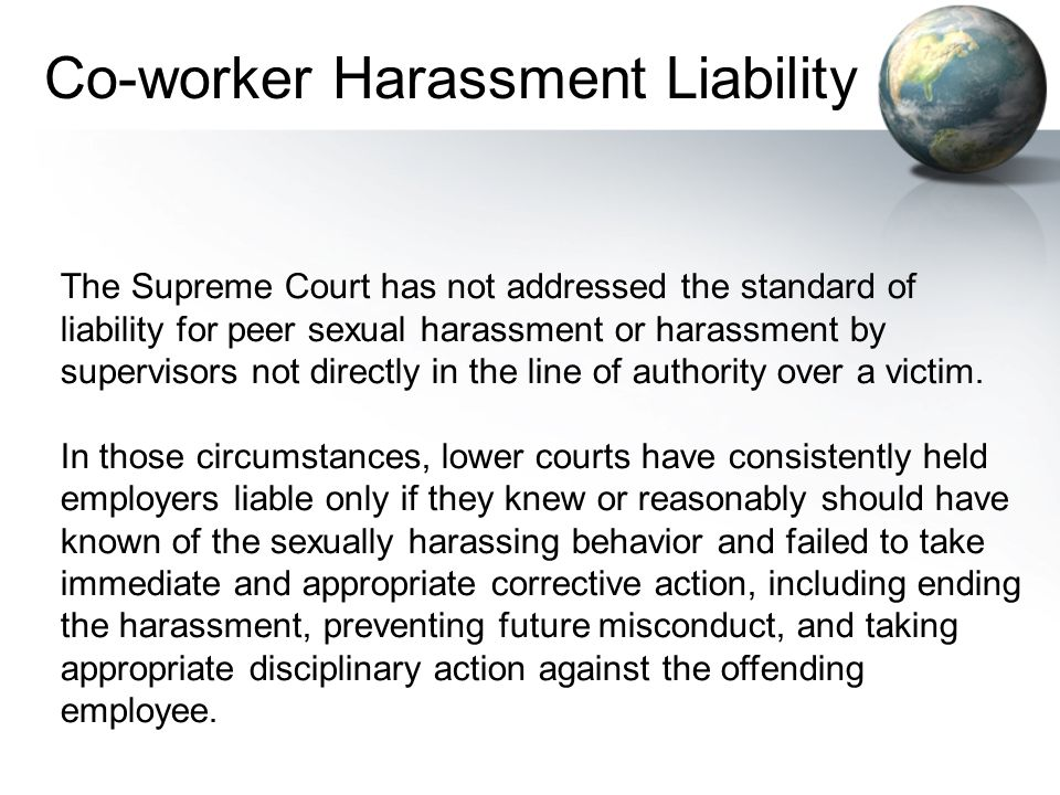 Co-worker Harassment Liability