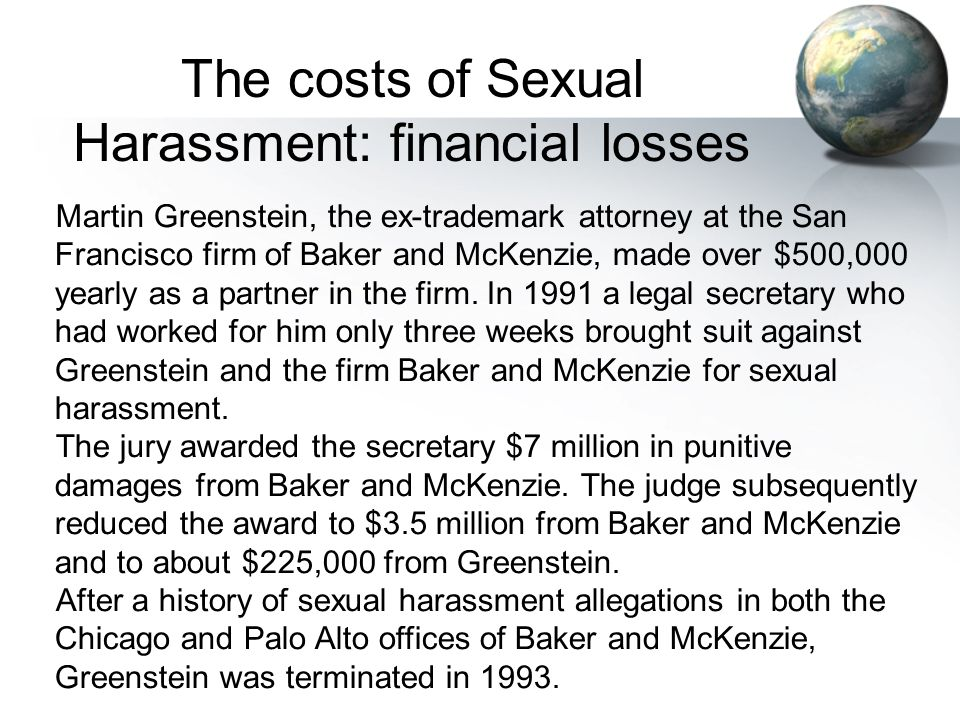 The costs of Sexual Harassment: financial losses