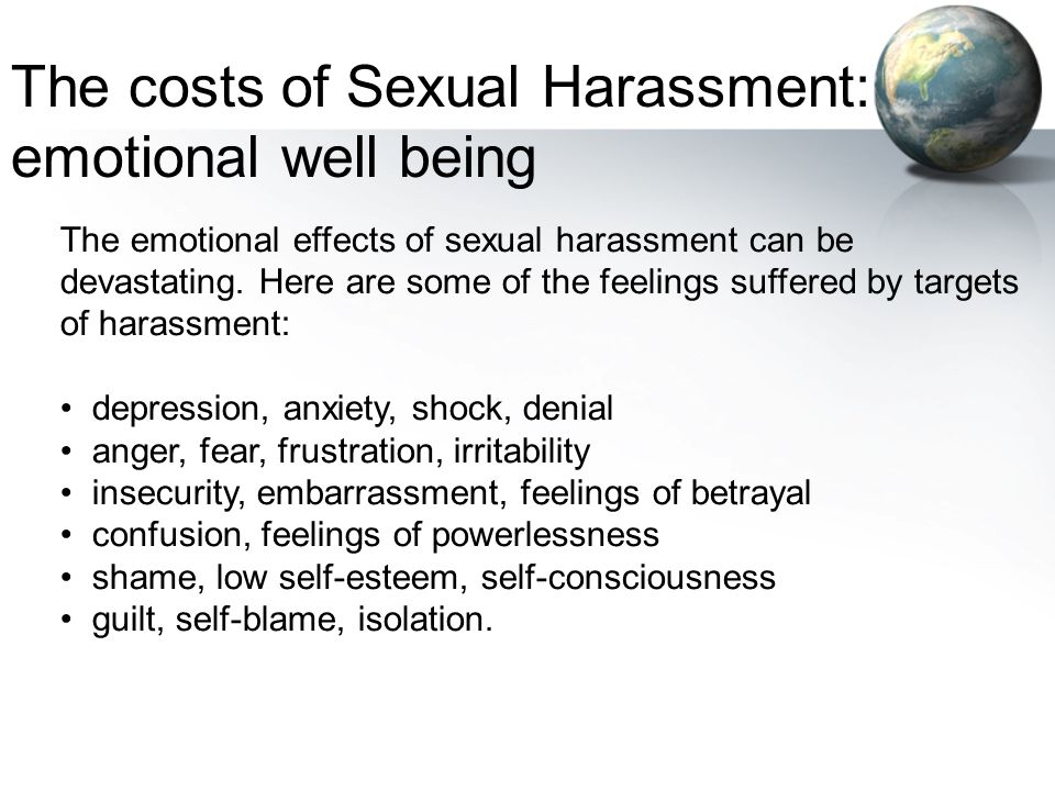 The costs of Sexual Harassment: emotional well being