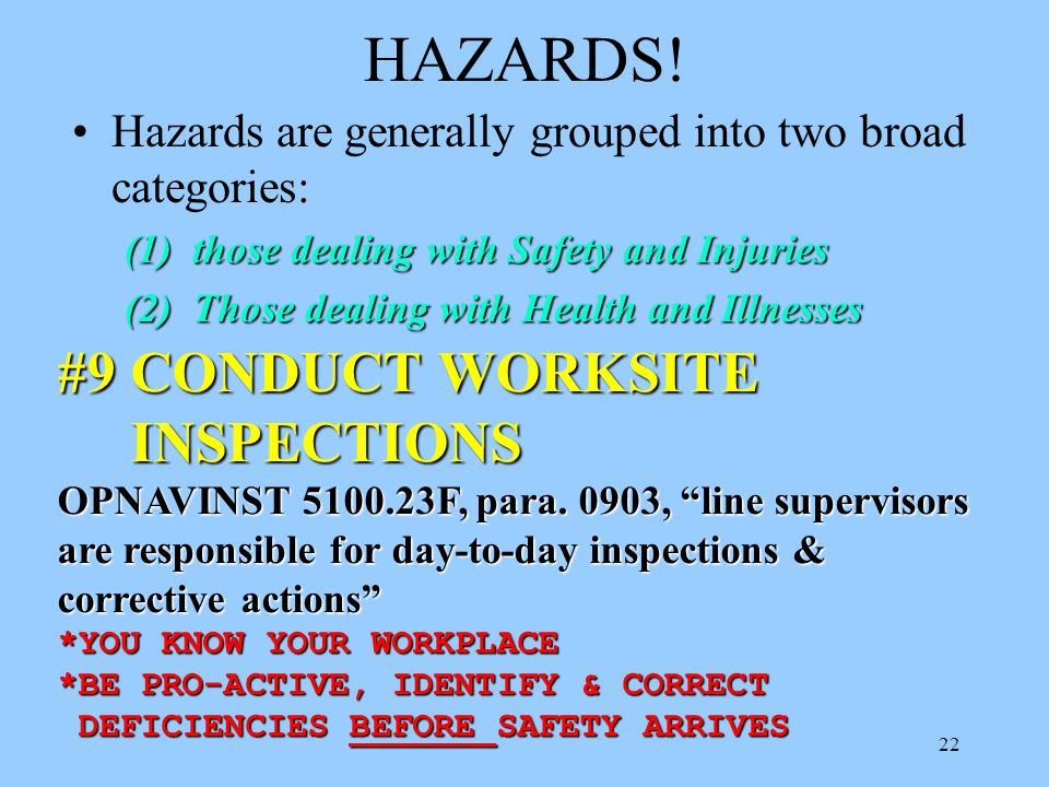 HAZARDS! #9 CONDUCT WORKSITE INSPECTIONS