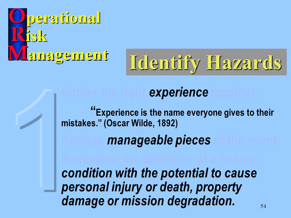 1 Identify Hazards Gather the right experience together.