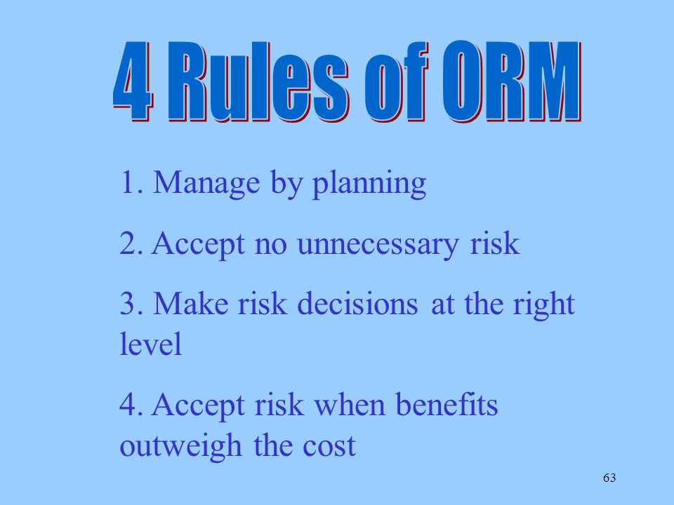 4 Rules of ORM 1. Manage by planning. 2. Accept no unnecessary risk. 3. Make risk decisions at the right level.