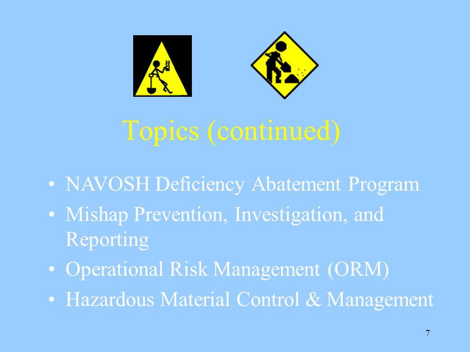 Topics (continued) NAVOSH Deficiency Abatement Program
