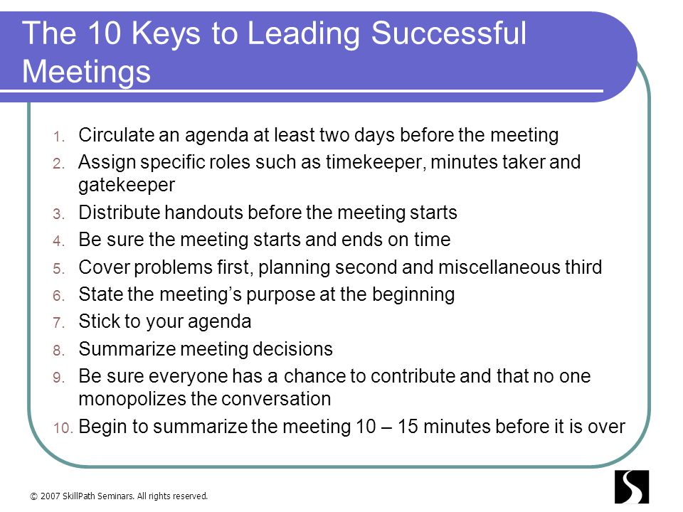 The 10 Keys to Leading Successful Meetings