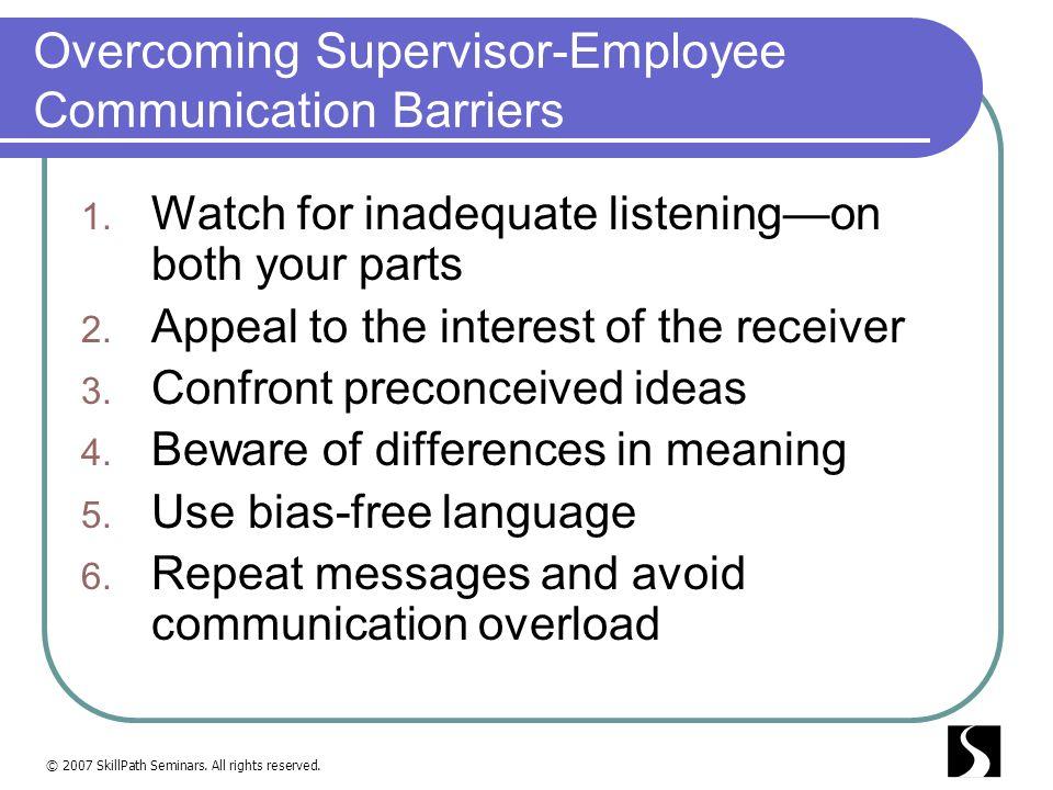 Overcoming Supervisor-Employee Communication Barriers