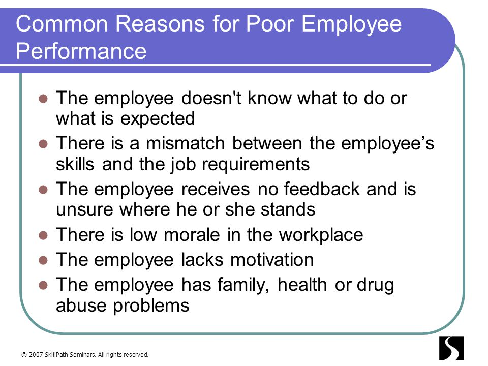 Common Reasons for Poor Employee Performance
