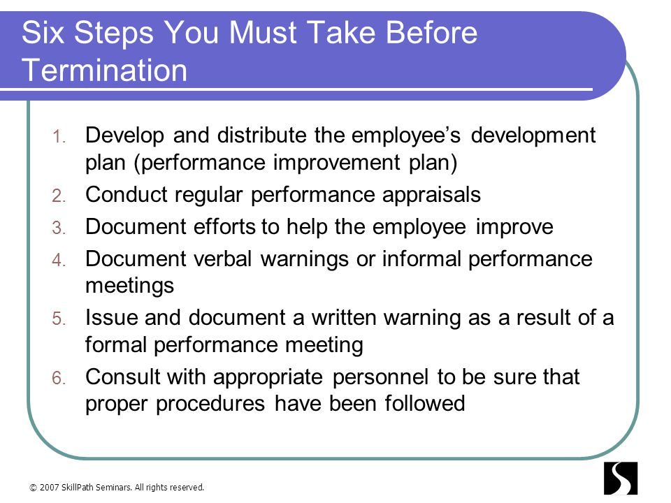 Six Steps You Must Take Before Termination