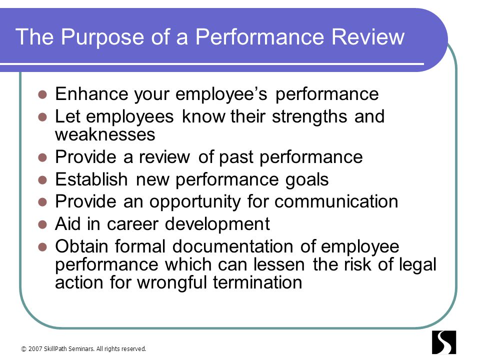 The Purpose of a Performance Review